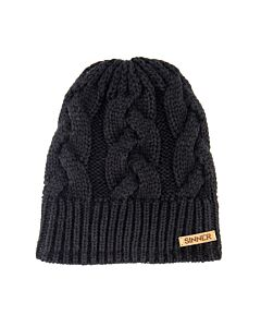 SINNER - cable beanie - Black/Black/White